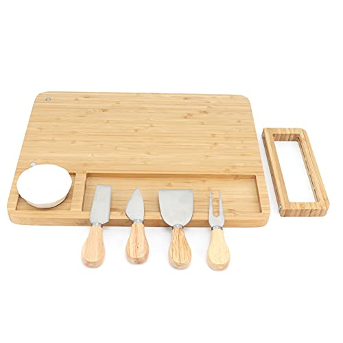 Juego de tablas de cortar de bambú para queso, plato de charcutería para servir carne con soporte, 4 cuchillos de acero inoxidable y 1 tazón, bandeja para servir vino, frutas, pan, carne, tabla de cor