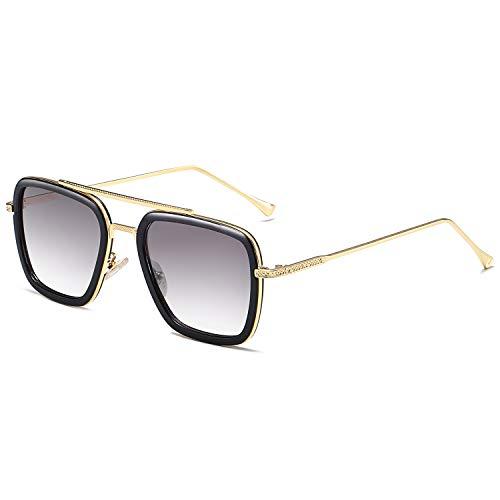 SOJOS Polarisiert Sonnenbrille Retro Rechteckig Piloten Sonnenbrille Herren Damen Tony Stark HERO SJ1126 mit Goldrahmen/Schwarzer Rand/Schwarze Linse