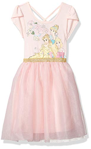 Disney Girls' Fit and Flare, Princesses/Pink, Large (10/12)