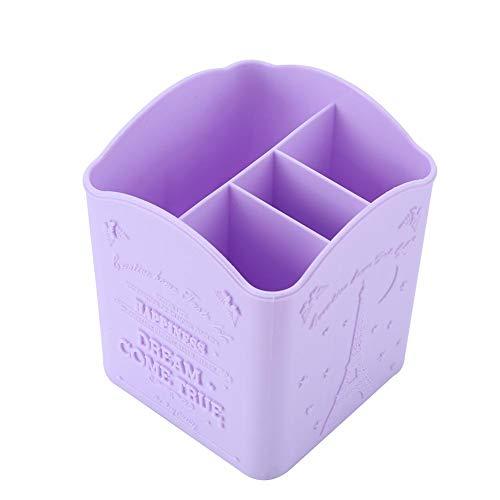 Pot à crayons multifonction à 4 compartiments pour ranger les outils et les ongles - Violet