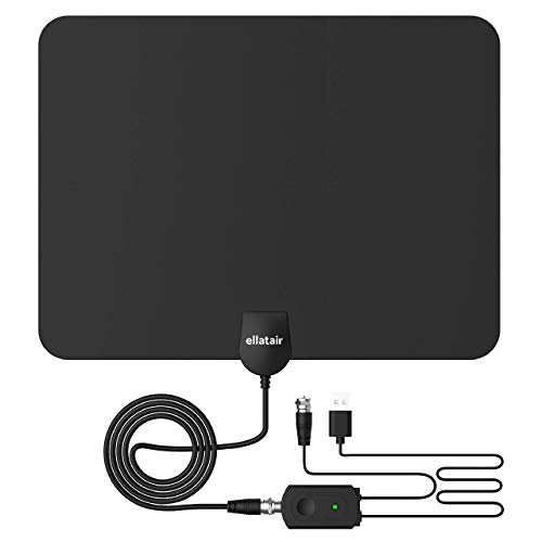 Digital HDTV Antenna with Long Range Signal Booster, Watch Local TV Channels in 4K HD and 1080P High Definition, Amplified Indoor Television Dish and Coaxial Cable