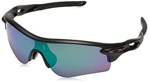 Oakley Men's OO9206 Radarlock Path Asian Fit Rectangular Sunglasses, Matte Black/Prizm Road Jade, 38 mm
