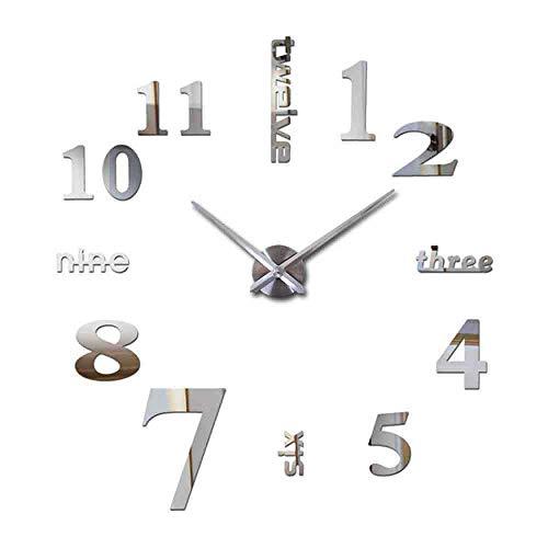 JPDP Venta caliente 3D Reloj de pared Acrílico Espejo Diy Relojes Dormitorio Reloj de pared Grote Wandklok Diseño moderno Sala de estar,Silver