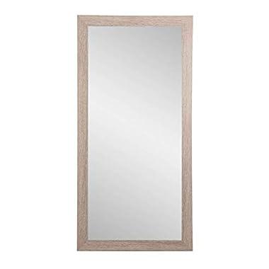 BrandtWorks Shabby Chic Farmhouse Full Length Floor Vanity Wall Mirror, 32 x 71, Brown/White