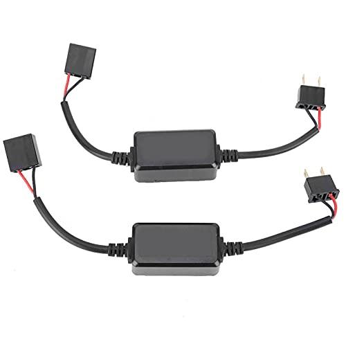 Decodificador LED para automóvil, 2 piezas H7 Decodificador de faros LED para automóvil Antiparpadeo Cancelador de error de flash para faros delanteros, Luz antiniebla, Luz LED DC12V-14V