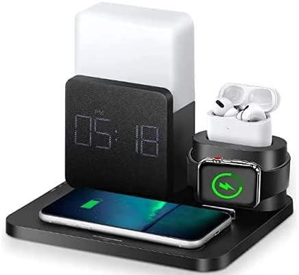 Cargador inalámbrico 3 en 1, estación de carga inalámbrica con reloj despertador digital y luz nocturna, compatible con iPhone 12, 11, 11 Pro, 11 Pro Max, AirPods, Galaxy S20 S10, Note 10 9