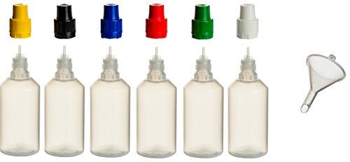 6 Stück 50 ml PP-Flaschen MIT FARBIGEN DECKELN + Füll-Trichter - Quetschflasche Leerflasche Kunststofflasche Plastikflasche Spritzflasche quetschbar zum befüllen und mischen auch Liquide