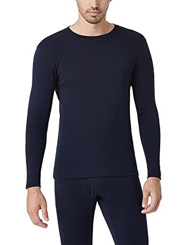 LAPASA Men's 100% Merino Wool Thermal Underwear Top Crew Neck Base Layer Long Sleeve Undershirt M29 (Small, Navy)