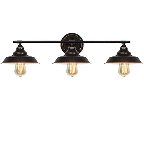 3-Light Vanity Wall Sconce Lighting, Industrial Bathroom Wall Light Fixture, Vintage Indoor Wall Mount Lamp Shade for Farmhouse Bedroom Living Room Mirror Cabinets Dressing Table