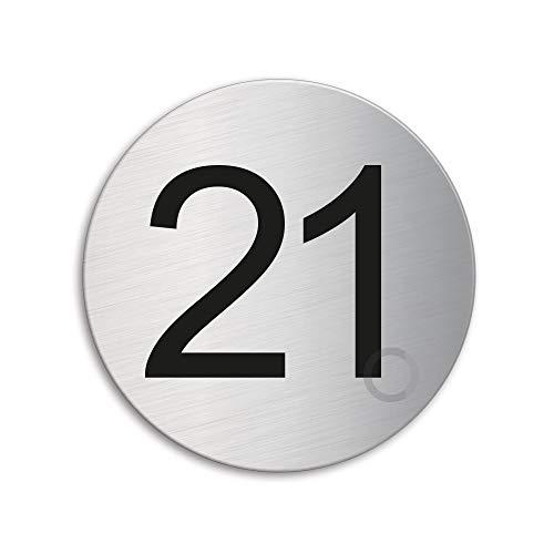 Plaque Numéro de porte 21 | Ø 75 mm autocollant | acier inox brossé 41011