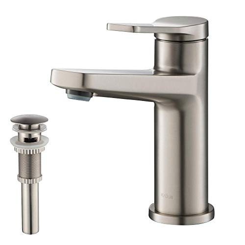 Kraus KBF-1401SFS-PU-11SN Indy Single Handle Basin Bathroom Faucet and Pop Up Drain with Overflow, Spot Free Stainless Steel