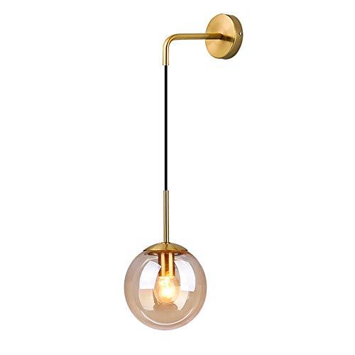 HJXDtech Industrial Vintage Loft Bar Lámpara de pared con globo de 15 cm Luz de la lámpara de lectura del pasillo del dormitorio Aplique de pared retro de esfera de vidrio ámbar (Latón Soporte)