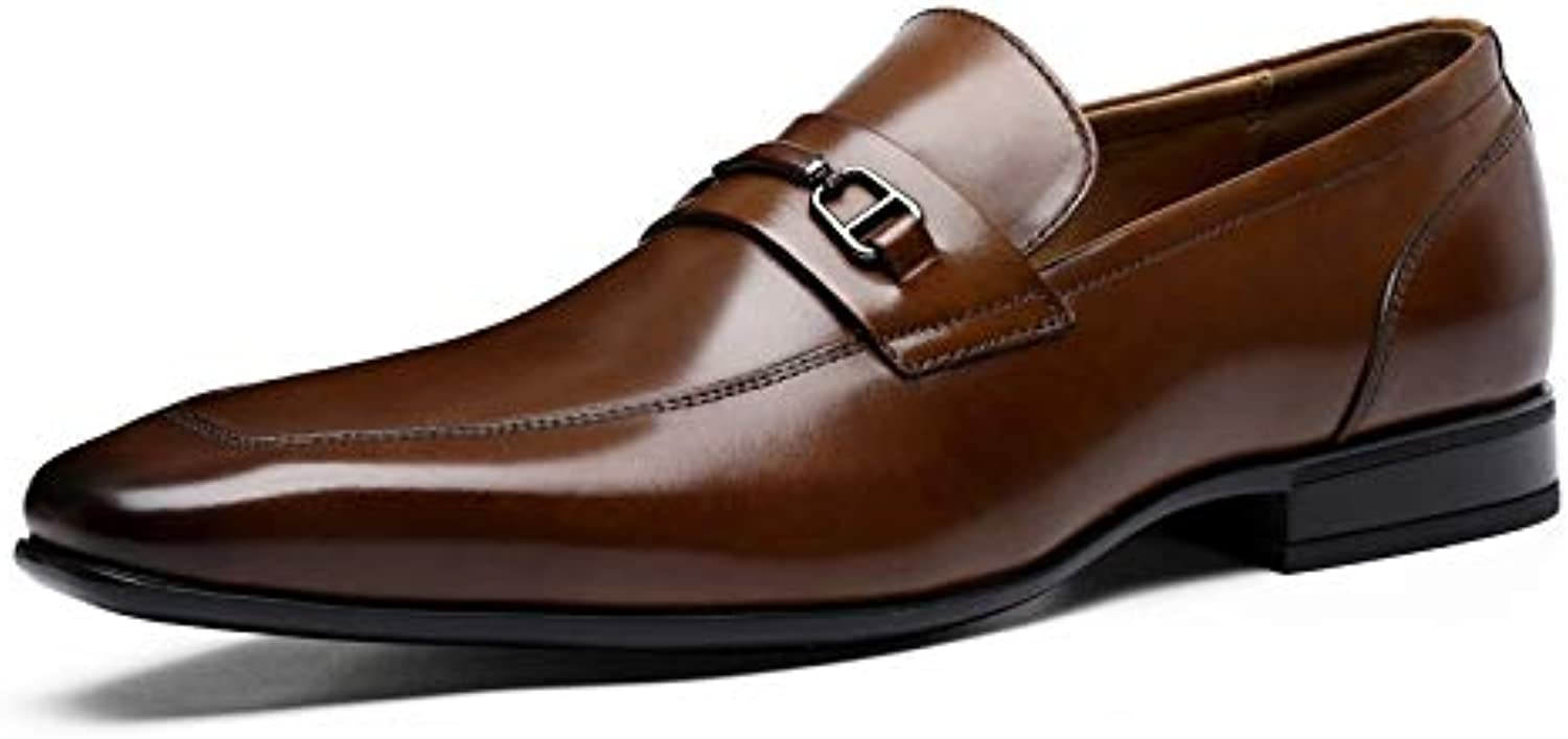 shoes Men Men's First Layer Leather shoes Men's shoes Business Casual Work Leather Dress Single shoes (color   Brown, Size   8.5-MUS)