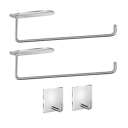 Paper Towel Holder  Self Adhesive Paper Towel Holder Under Cabinet Mount SUS304 Stainless Steel for Kitchen Bathroom Large Roll Paper 4 Piece Brushed Nickel