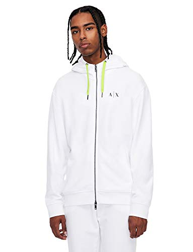 ARMANI EXCHANGE White Sweatshirt Maglia di Tuta, Bianco, M Uomo