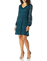 Women's Lace Vneck Dress with Puffy Sleeve