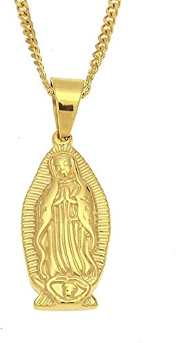 WYDSFWL Collar Color Dorado Acero Inoxidable Hiphop Virgen María T Hombres Collares Cadena Cubana de 60 cm de Largo Collar Vintage Joyería Regalos