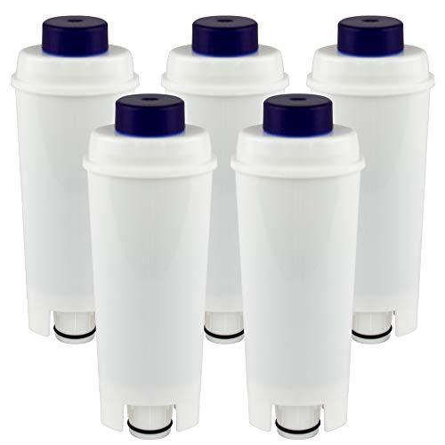 5-pack waterfilter compatibel met DeLonghi DLS C002 koffiezetapparaten filterpatronen, DLSC002, SER 3017, Magnifica, Caffe, Cappuccino, ECAM, ESAM, ETAM, BCO, EC