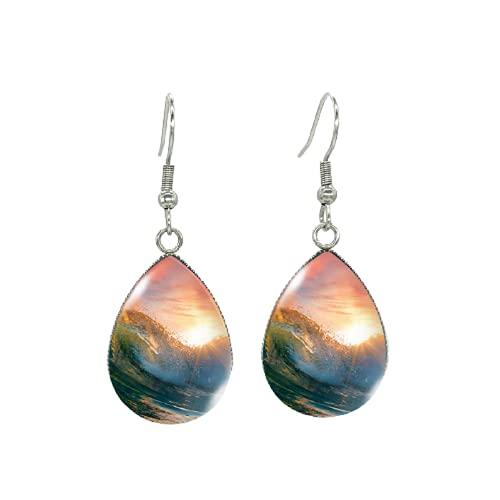 Pendientes de sol atardecer, lágrima de mar, ondas, pintura, pescado, ganchos, cristal, cabujón, joyas hechas a mano