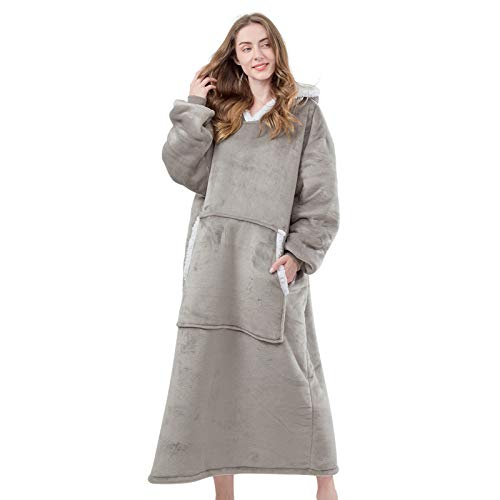 HBlife Oversized Wearable Blanket Hoodie for Adult Sherpa Blanket Sweatshirt with Sleeves amp Giant Pockets Super Warm and Cozy Blanket Light Gray