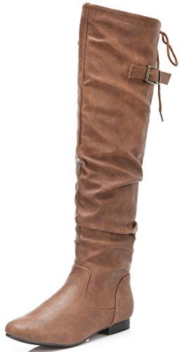 DREAM PAIRS Women's Thigh-High Zippered Boots