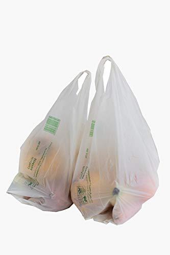 Bolsas Biodegradables y Compostables Tipo Camiseta Paquete con 100 bolsas, certificadas TUV Austria conforme EN13432 y fabricadas en la Unión Europea, Dimensiones: (27+2x7)x45 cm, Medium