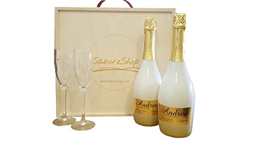 Caja Madera 2 Botellas Vino Espumoso Semiseco | Botellas Vino Andrea by Latarce | Vino Espumoso | Vino Semiseco | Ideal para Regalar