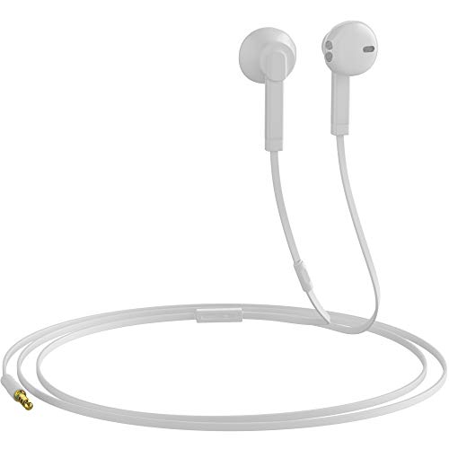 Headphones with Microphone Certified in-Ear Headphone 3.5mm Noise Isolating Earphones Headset for Laptop Tablet Samsung Android Smartphones (White) 1-Pack