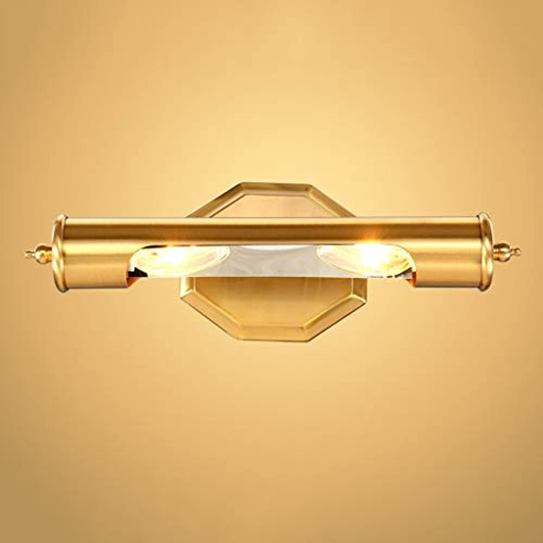 ZTMN Vollkupfer Europischen Led Badezimmerspiegel Kabinett Lichter Wandleuchte Einfache Nacht Make-Up Spiegel Frontleuchte (Gre  35 cm)