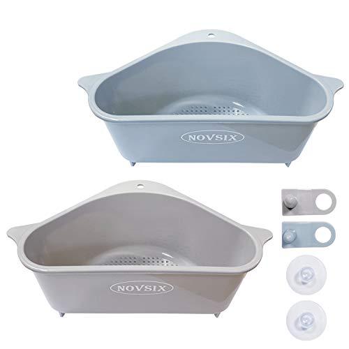 Triangular Sink Storage Holder Drain Shelf with Suction Cup Kitchen Sink Corner Hanging Basket Shelf Sink Basket for Kitchen Bathroom