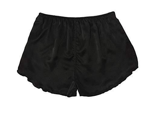 LSHARON Damen 100% Maulbeerseide Nachtwäsche Shorts Unterwäsche Nachtwäsche Shorts Boxershorts Gr. Einheitsgröße, Schwarz