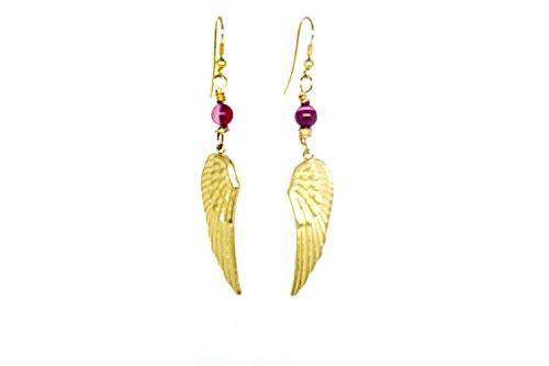 Pendientes Mujer plumas, alas de angel, Largos chapados en Oro 18 k con piedras naturales ágata, Regalos Originales