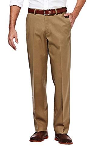 Haggar mens Premium No Iron Khaki Classic Fit Expandable Waist Flat Front Pant, Khaki, 36Wx32L