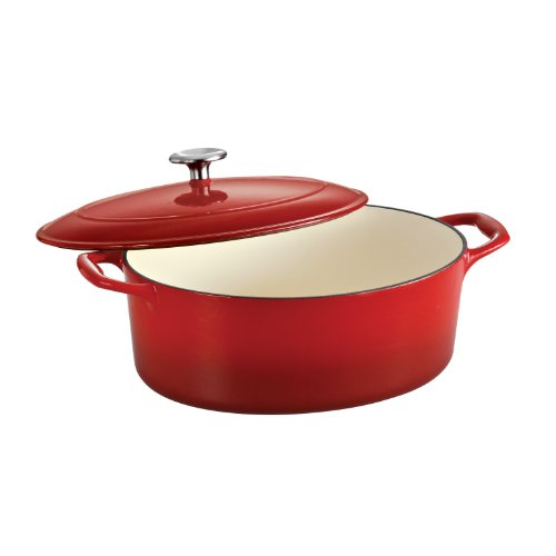 Tramontina 80131/052DS Enameled Cast Iron Covered Oval Dutch Oven, 7-Quart, Gradated Red