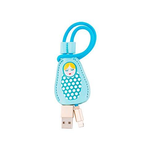 Dodo & Cath Lightning-datakabel, compatibel met Apple-apparaten en kabelbedekking, design Russische poppen