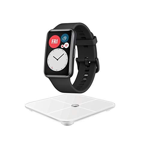 "HUAWEI Watch FIT Smartwatch, 1,64"" AMOLED-Display, 10 Tage Akkulaufzeit, 96 Trainingsmodi, GPS, 5ATM, SpO2-Sensor, Herzfrequenzmessung-Graphit Black, Exklusives Bundle Körperwaage"