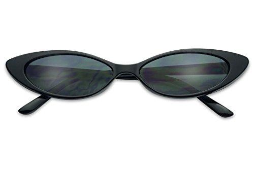 Mini Vintage Retro Extra Narrow Oval Round Skinny Cat Eye Sun Glasses Clout Goggles (Black Frame | Black)