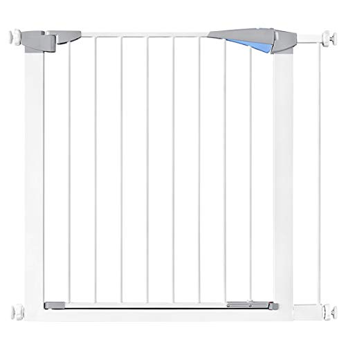 31.8' Auto Close Safety Baby Gate, Extra Wide Walk Thru Dog Gate with Pressure or Hardware Mount for Stairs, Doorways and Hallways, Includes 2.7' Extension Kits, White