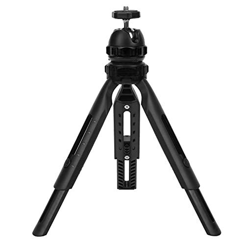 Goshyda Trípode, Mini trípode retráctil portátil Soporte para teléfono móvil de 2 Secciones con rótula Ajustable de 360 °, para cámara, teléfono(Negro)