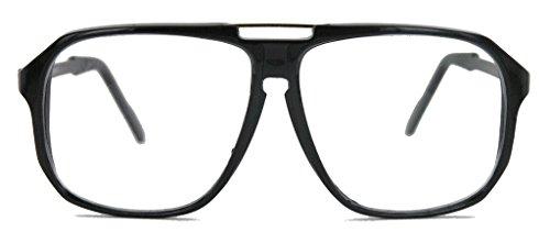 amashades Vintage Nerdies oversized Nerd Brille 70er 80er Jahre Streberbrille Retro Kassengestell Damen Herren WY (schwarz)