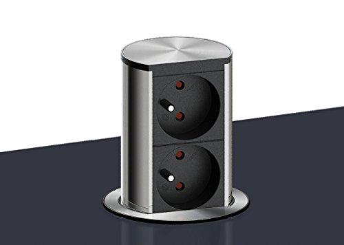 Elevator 2, Steckdosenelement, mit Schukosteckdosen. Versenkbar. Mit 2 Schukosteckdosen für Hängeschränke oder Arbeitsplatten. edelstahlfarbig, Material: Kunststoff, schwarz, Profil: Aluminium, Blenden: Edelstahl gestanzt und gebürstet,