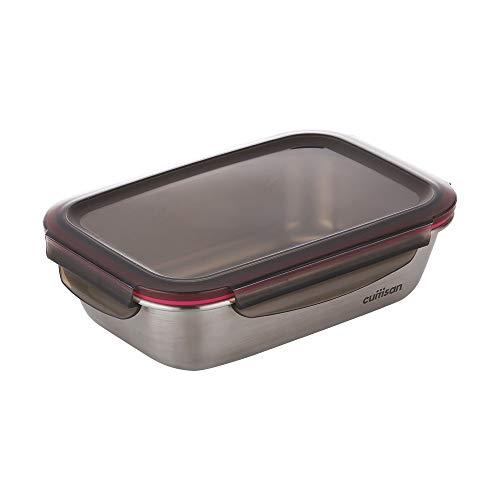 CANDL Cuitisan (Flora) Frischhaltedose aus rostfreiem Edelstahl mit Clipverschluss-Deckel, rechteckig, geeignet für die Mikrowelle + Ofen, Vorratsdose, EC7-SS07 (22,0cm x 15,7cm x 6,5cm / 1100ml)