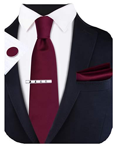 GUSLESON Set bestehend aus Krawatte und Einstecktuch und Manschettenknöpfen, 8 cm - Rot - Allgemeines