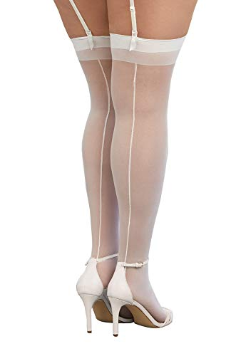 Dreamgirl Women's Plus-Size Thigh-High Stockings with Back Seam, White, Queen Size