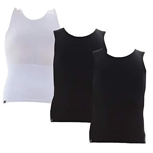 Kit com 03 Cintas Modeladoras Masculina Bodyshaper Slim Fitness Fashion – Preto - Preto - Branco – GG