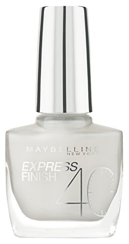 Maybelline Express Finish Nagellack, Nr. 60/15 white Dream, trocknet in nur 40 Sekunden, Schock-Control-Film schützt die Farbe vor Absplittern, in deckendem schnee-weiß, 10 ml