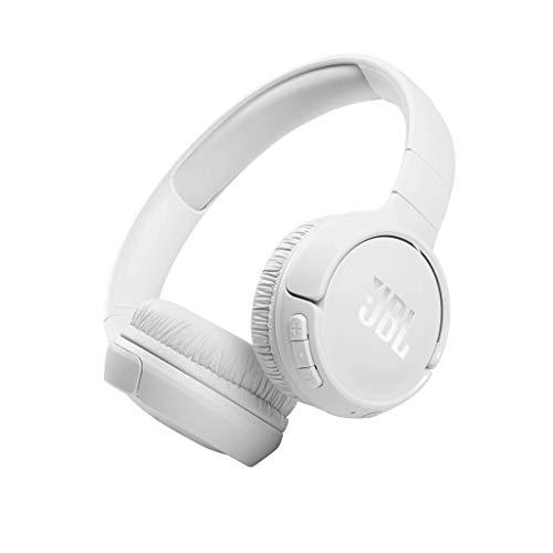 JBL TUNE 510BT – Auriculares inalámbricos on-ear con tecnología Bluetooth, ligeros, cómodos y plegables, hasta 40h de batería, Siri y Asistente de Google, con conexión multipunto, blanco