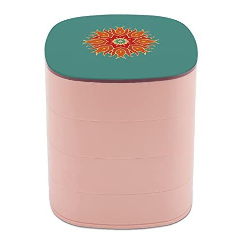 Rotar la caja de joyería con elementos chinos diseño de arte gráfico cajas de joyería con espejo, cajas de joyería a granel, soporte de joyería de diseño multicapa para mujeres niñas y niños