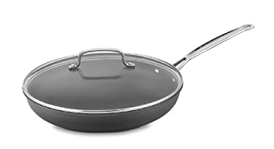 Cuisinart 622-30G Chef's Classic Nonstick Hard-Anodized 12-Inch Skillet with Glass Cover, Black