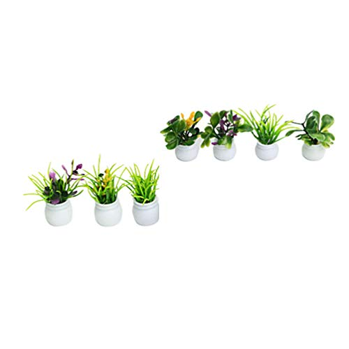 EXCEART 7 Pcs Mini Potted Model Green Plants Decoration Dollhouse Plant Bonsai Model Play Toys Construction Model for Kids Playing